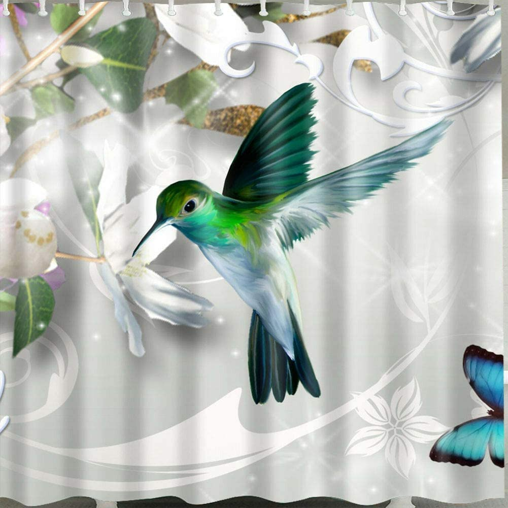 xuelizhou Pájaros se reúnen Cortina de Ducha de Miel Tela Duradera Moho Accesorios de baño Creativo con 12 Ganchos 180X180CM
