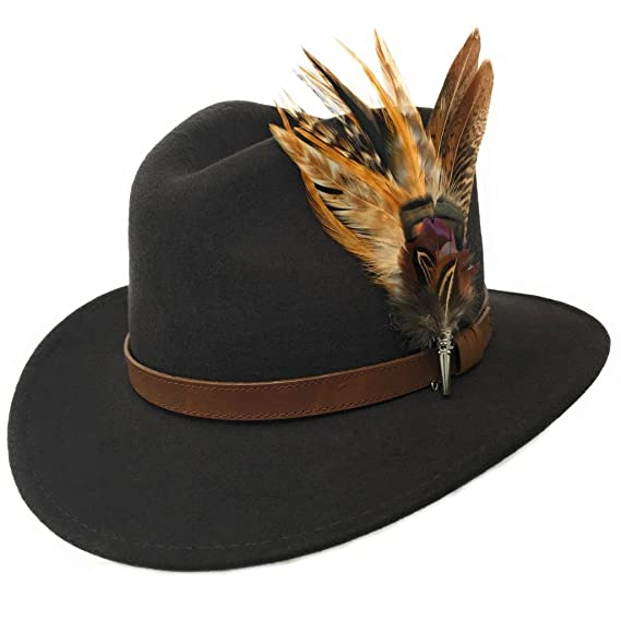 fecb4a8a7ff65 Women s Wool Fedora Hat with Leather Belt Trim and English Country Feather  Brooch at Amazon Women s Clothing store