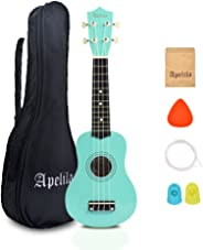 Apelila 21 inch Soprano Ukulele Acoustic Mini Guitar Musical Instrument with Bag, Pick, Strings, for Kid, Children,Amateur (Seafoam Green)