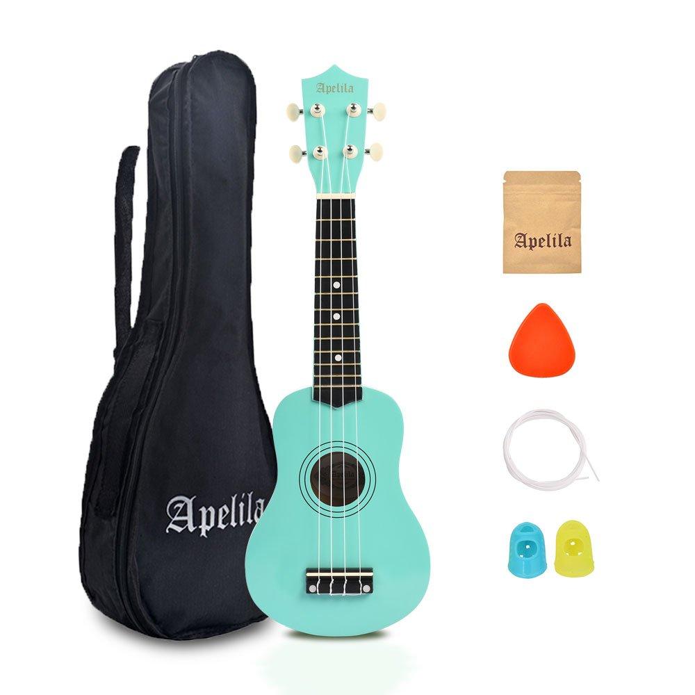 Apelila 21 inch Soprano Ukulele Acoustic Mini Guitar Musical Instrument with Bag, Pick, Strings, for Beginner, Kid, Starter, Amateur (Seafoam Green) by Apelila