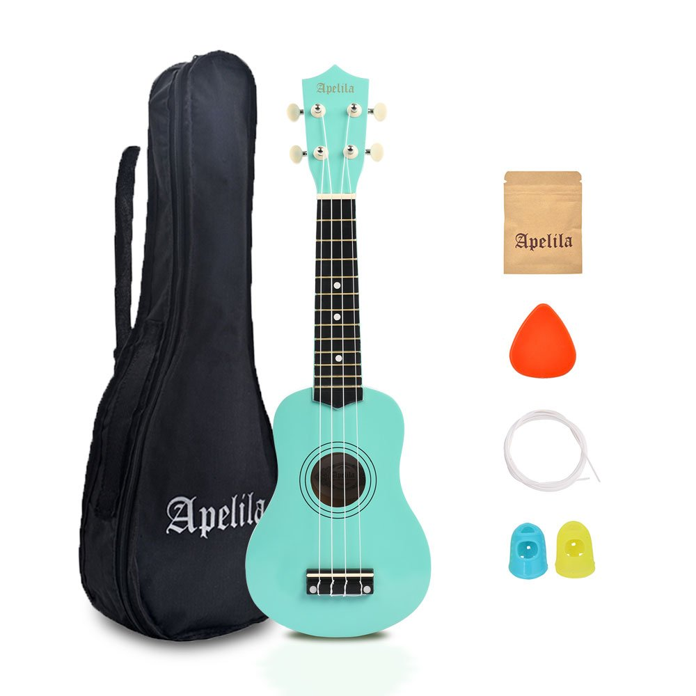 Apelila 21 inch Soprano Ukulele Acoustic Mini Guitar Musical Instrument with Bag, Pick, Strings, for Beginner, Kid, Starter, Amateur (Seafoam Green)
