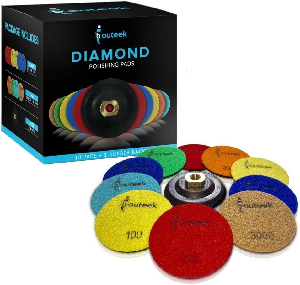 SHUZIYU 4pulgadas h/úmedo//seco juego de 11 grano de 50 a 6000 almohadillas de pulido de diamante 1 conector M14 Rosca