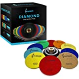 Diamond Polishing Pads 4 inch - Flexible Durable Wet/Dry 11 Piece Set (10 PADS + BACKER) To Polish Granite Stone Marble Travertine Concrete Quartz Terrazzo Engineered Stone Dekton Stone Countertops