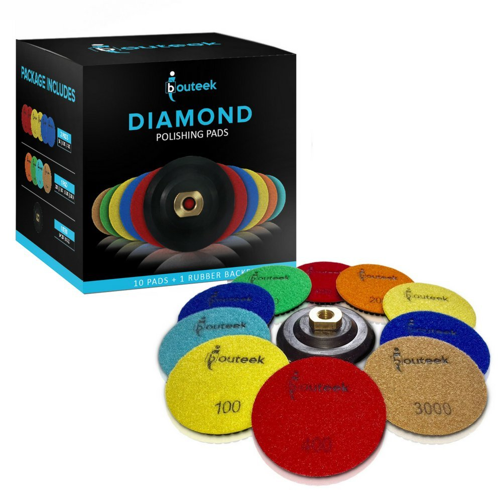 Diamond Polishing Pads 4 inch – Wet/Dry 11 Piece Set with Rubber Backer | Use these Polisher Discs to Polish and Finish Granite Stone Marble Concrete Travertine and Terrazo
