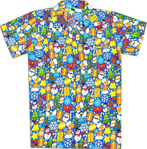 Virgin Crafts Hawaiian Christmas Shirts for Men Santa Claus Beach Holiday Party Casual Shirt -