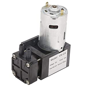 Vacuum Pump, DC 24V Mini Vacuum Pump Water Air Gas Vacuum Pump -85KPa Flow 40L/min Oil-Less Vacuum Pump, Mini Air Pump Motor