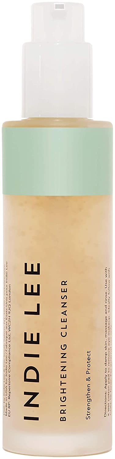 Indie Lee Brightening Cleanser - Exfoliating Vitamin C Face Wash with Strawberry Seed Oil - Clean Skin Care (4oz / 125ml)