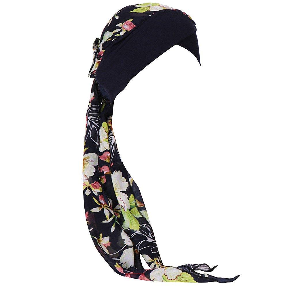 Women's India Muslim Print Ruffle Turban Hat Hair Tail Hair Loss Head Scarf Wrap Cap Slouchy Cancer Chemo Caps Green