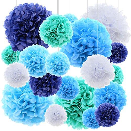 Jual 20 Ct Tissue Paper Flowers Pom Poms Wedding Party Decor Blue