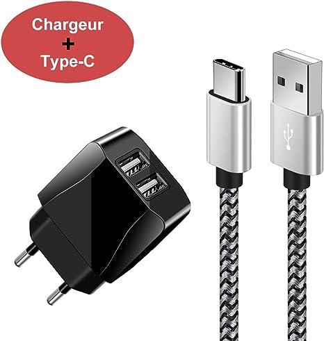 Chargeur Secteur USB 2 Ports Adaptateur USB Universel Mural
