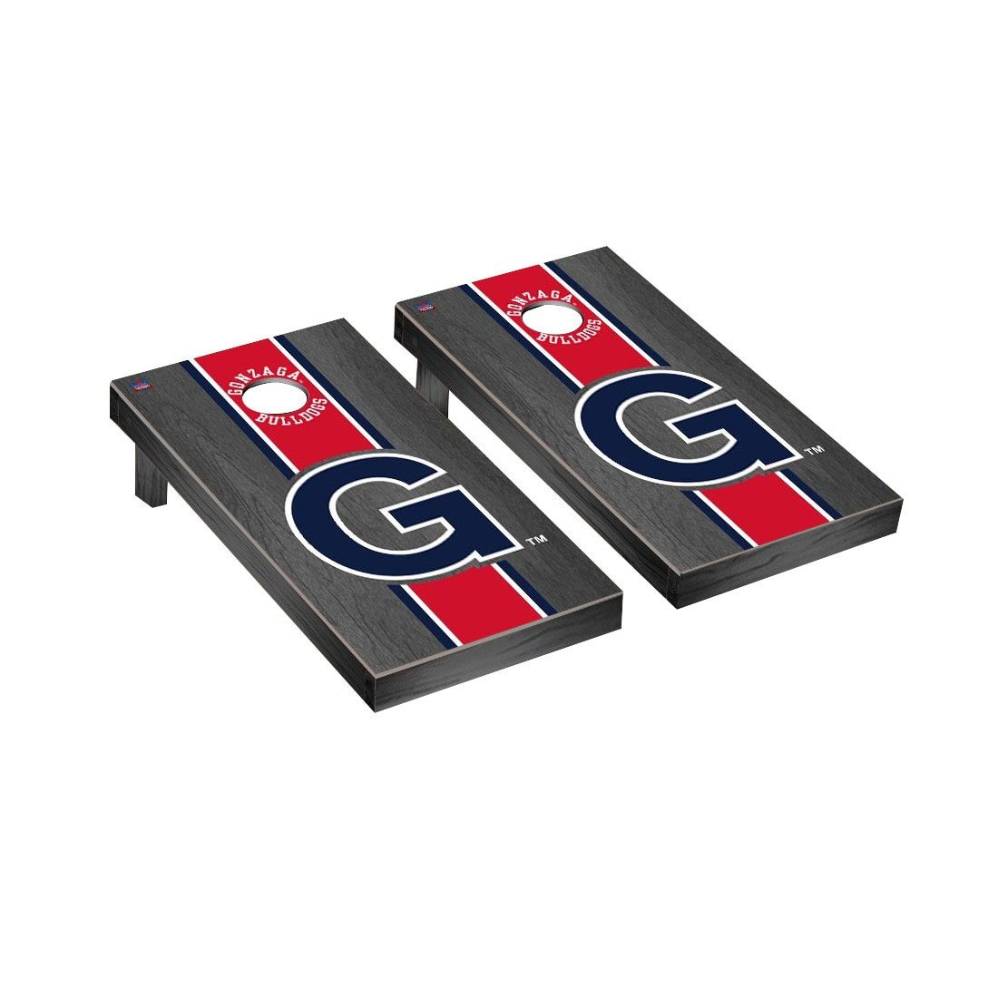 カレッジVault Gonzaga Bulldogs Cornhole Game SetオニキスStainedストライプバージョン B01CGVVPIG Parent