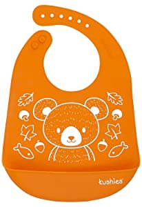 Kushies Silicatch Super Soft Silicone Waterproof Feeding Bib with Catch All/Crumb Catcher, Carrot Orange, 6m +