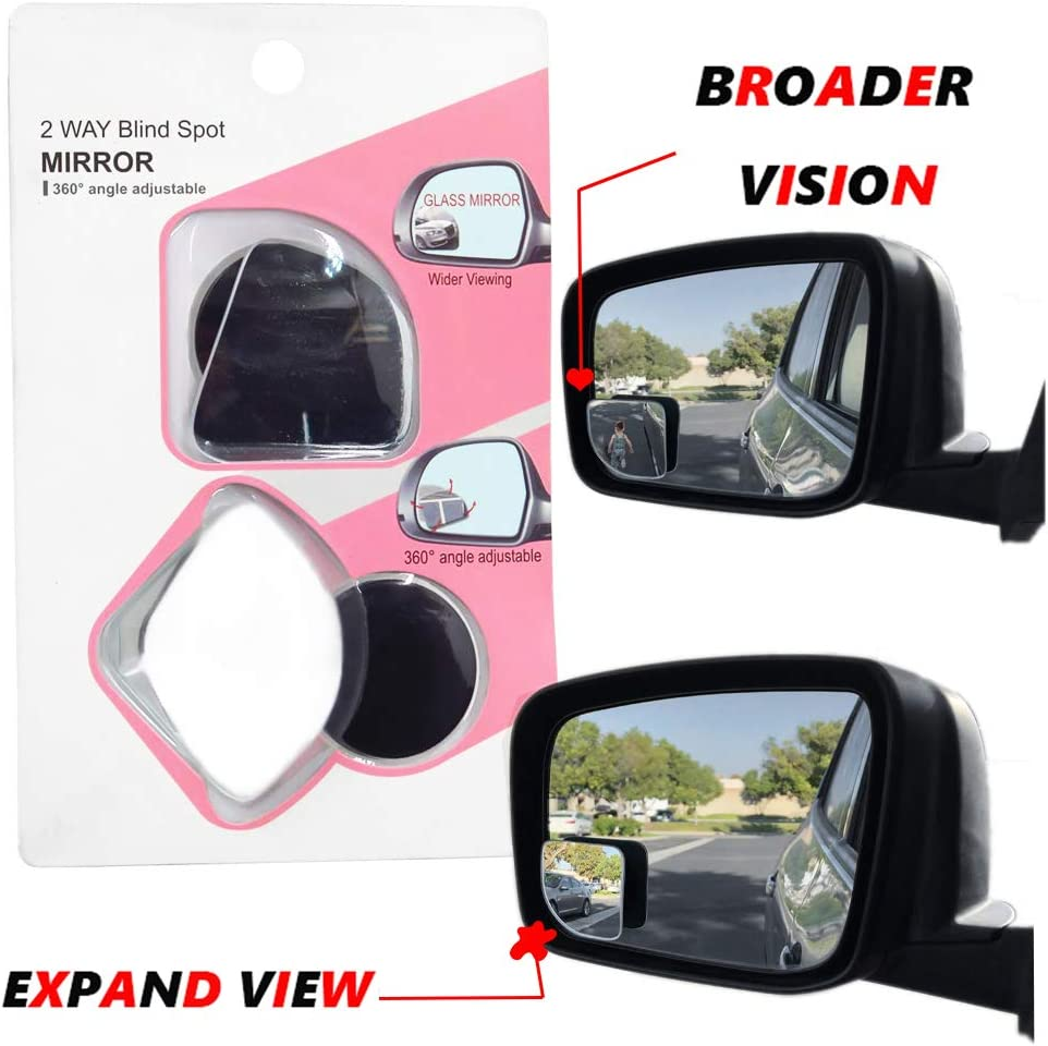 360°Car Blind Spot Side Mirror Stick On Glass Round Lens Safety Miror Adjustable