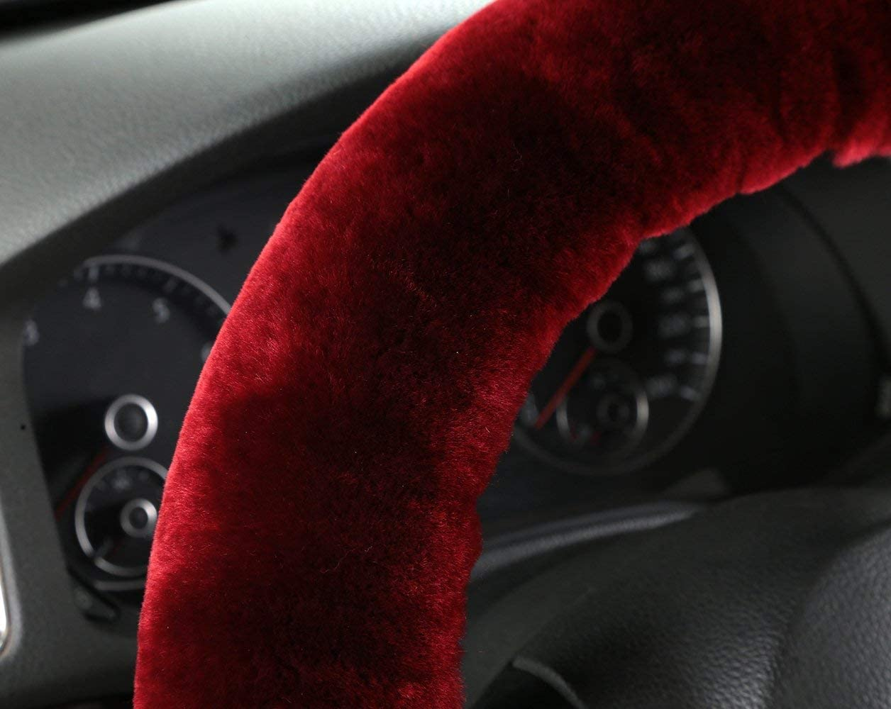 EGBANG Sheepskin Steering Wheel Cover Grey Pure Wool Auto Steering Wheel Cover Genuine Car Steering Non-Slip Wheel Cushion Protector Available for 35cm-42cm