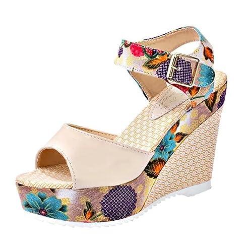 NINGSUN Scarpe Eleganti Donna Spiaggia Casual Colore Caramella Dolce  Sandals Shoes dbe1d5eb45f