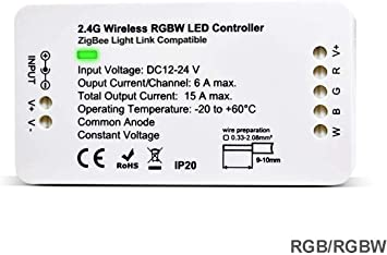 Amazon Com Zigbee Led Strip Light Controller Rgbw Color Changing Dimmer Switch For 12 24v Rope Light Compatible With Zigbee Light Link Zll Philips Hue Bridge Amazon Echo Plus Lightify Smartthing Computers Accessories