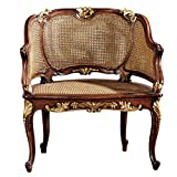 Design Toscano Louis XV French Rattan Chair For Sale
