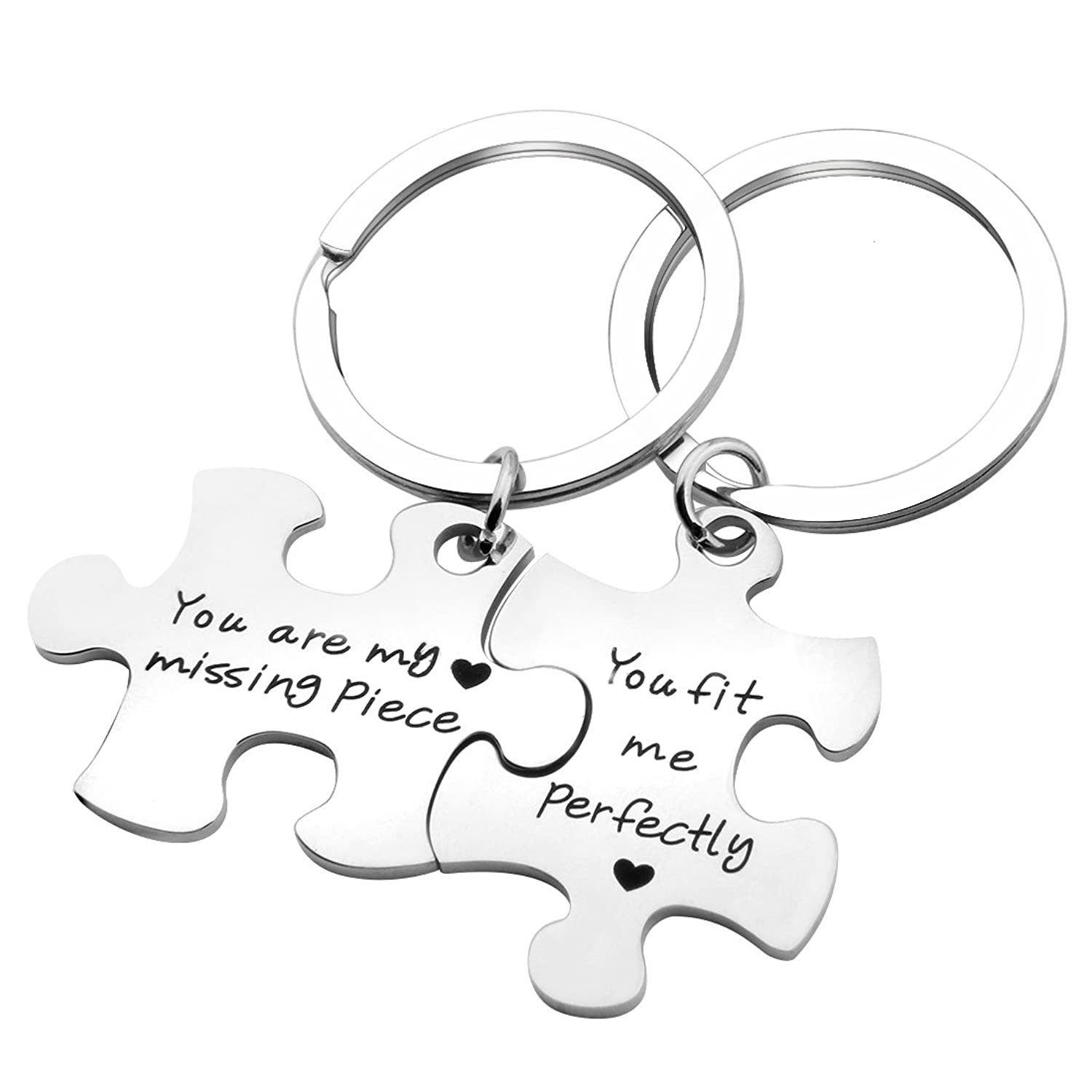 Ensianth Puzzle Jewelry Couple Gift You Are My Missing Piece,You Fit Me Perfectly Necklace and Keyring Set Of Two