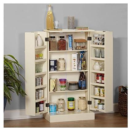 Amazon Com Lapha Tall Pantry Larder Cabinet Kitchen Wooden Storage