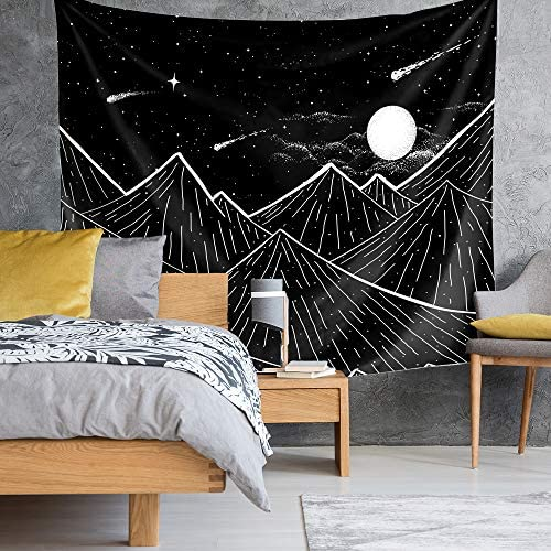 Kingla Home Mountain Moon Tapestry Wall Hanging, Starry Night Sky Star Tapestry, Black and White Tapestry for Bedroom Room 70.9 x 92.5