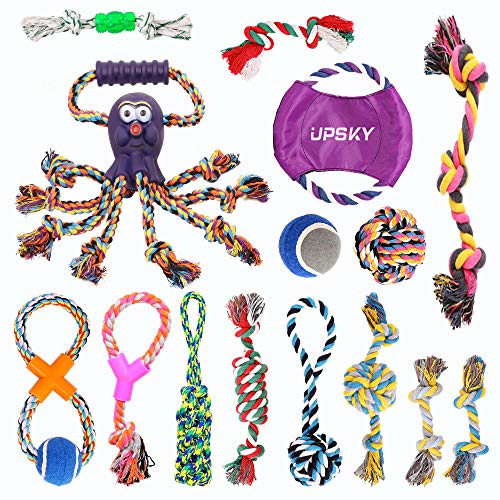 UPSKY Dog Rope Toys Puppy Grinding Teeth 15 Pack Dog Toys Puppy Teething Toys Dental Cleaning Product Prevents Boredom and Relieves Stress