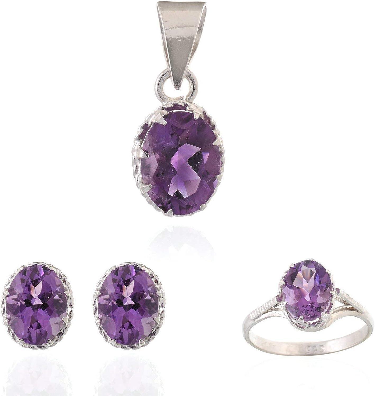 Mughal Gems & Jewellery - Pendientes de Plata de Ley 925, Anillo y Colgante, Piedras Preciosas de Amatista Natural, joyería Fina para Mujeres y niñas