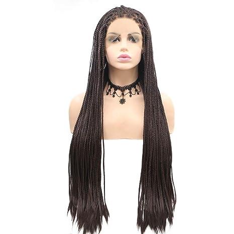 Peluca sintética de encaje delantero largo trenzado trenzas marrón oscuro pelucas para las mujeres negras,