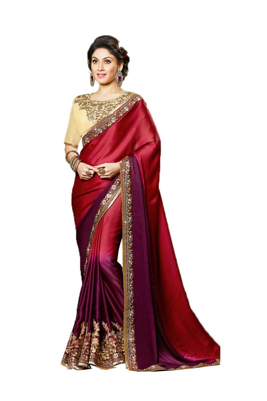 Sangrahan Fine-looking Plain Pallu Saree in Crimson Color 71389