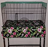 Penn Seed Seed Guard and Catcher Bird Cage Skirt - Fuchsia Hibiscus (Large (50''-100'' Cage Circumference))