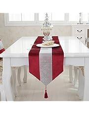 Camino de mesa moderno con diamantes de imitación y borlas de franela para el matrimonio,