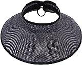 Women Summer Roll Up Packable Wide Brim Straw Sun Visor Hat