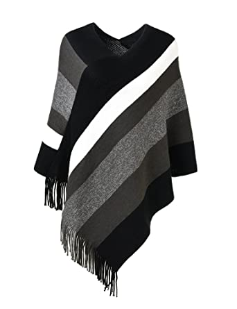 Ferand Womens Elegant Knitted Poncho Top With Stripe Patterns And