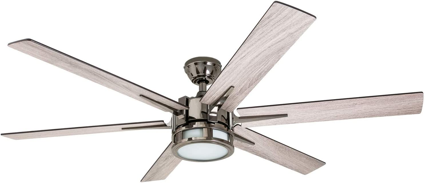 "Honeywell Ceiling Fans 51035-01Kaliza Modern LED Ceiling Fan with Remote Control, 6 Blade Large 56"", Gun Metal 52"""