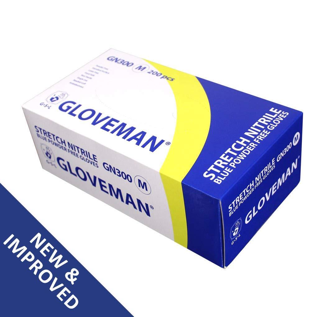 Cobalt Blue or White 200 Gloves 1 Box of Gloveman Stretch Nitrile Powder Free Gloves Extra Small, Cobalt Blue - Blue Sizes Extra Small to Extra Large