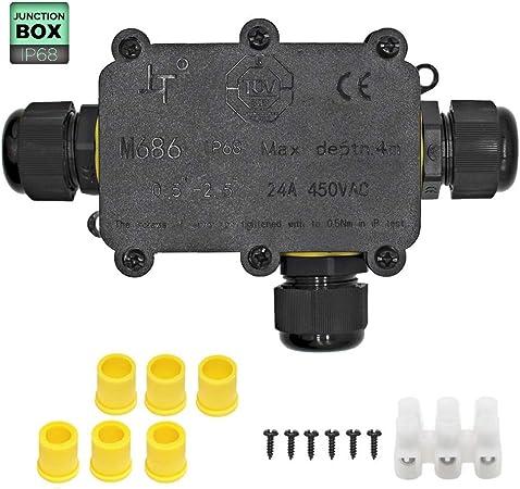2 Pack Bo/îte de Jonction /Étanche,IP68 Boite /Électrique,3 Voies Connecteurs Bo/îte pour C/âble /Ø 4 /à 14mm avec 3 Paires Taille Diff/érente de Bouchons de Silicone