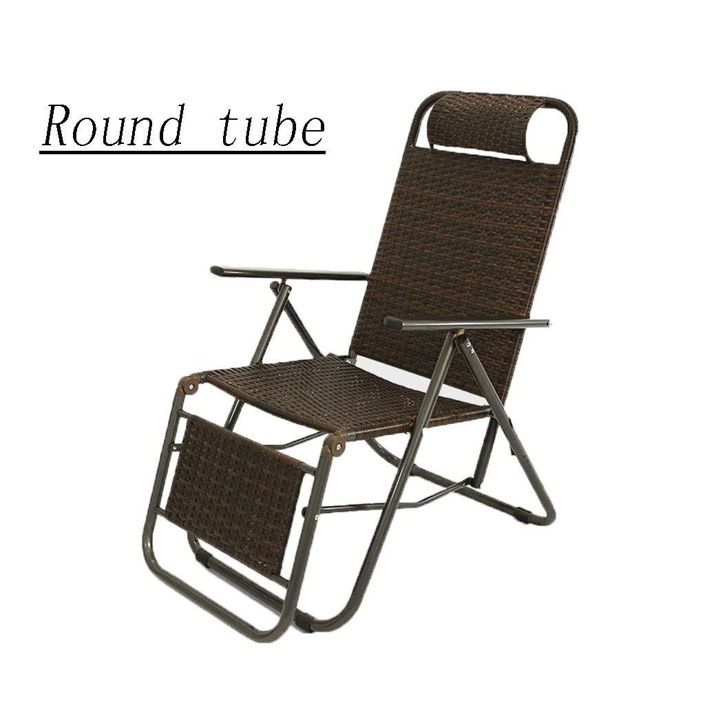 無重力チェア折り畳みリラックスリクライニングチェアポータブル枕付きな昼休みチェアテスリン生地 リクライニング式ガーデンチェア サンラウンジャーシエスタ昼寝 耐荷重約150kg庭、オフィス、キャンプ、釣り、テラス、プール、ビーチに (サイズ さいず : Round tube) Round tube  B07RRP6Y6B