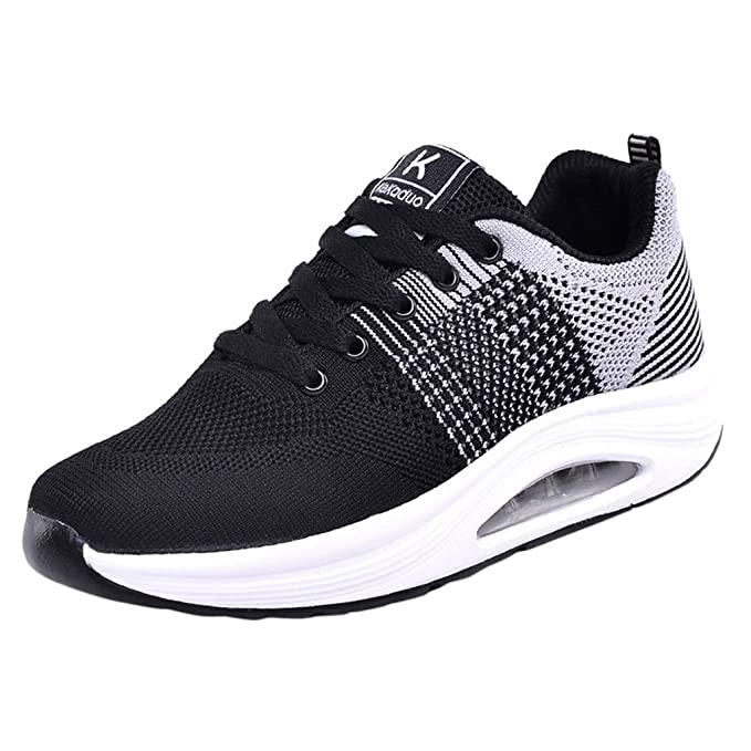 b78cc847fb78 Zanuy Women Mesh Sports Shoes Girl Lightweight Breathable Sneakers Soft  Bottom Fitness Running Shoes (Gray
