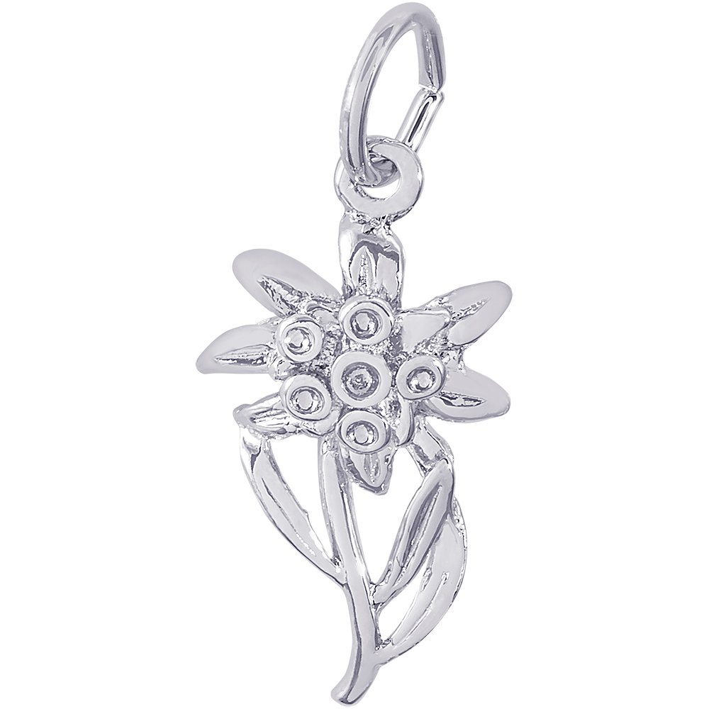 Rembrandt Charms Sterling Silver Edelweiss Charm (19 x 10.5 mm)