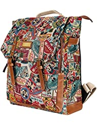 Disney Mickey Pattern Preppy Vintage Style School Book Satchel Backpack Rucksack