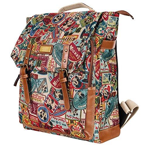 Disney Mickey Pattern Preppy Vintage Style School Book Satchel Backpack Rucksack(bag-063-1)