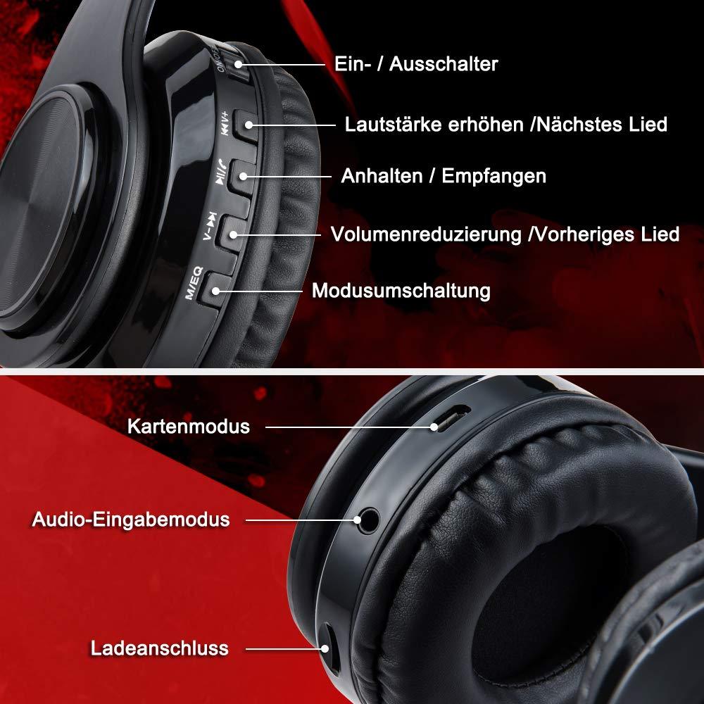 Ruicer Wireless Bluetooth Kopfhörer - Over Ear Kopfhörer Schwarz Funkkopfhörer Faltbare Headsets mit Mikrofon FM und LED-Licht