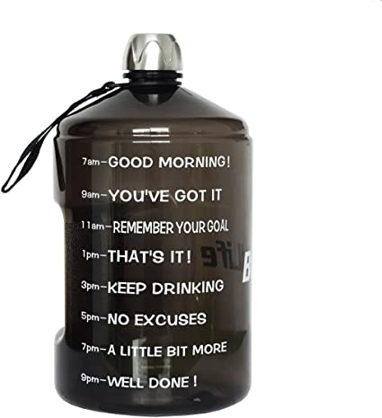 1 Gallon Hydration Bottle Daily Water Tracker-Time Marked to Ensure You Drink of