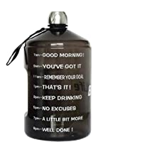 BuildLife 1 Gallon Water Bottle Motivational Fitness Workout with Time Marker/Drink More Daily/Clear BPA-Free/Large…