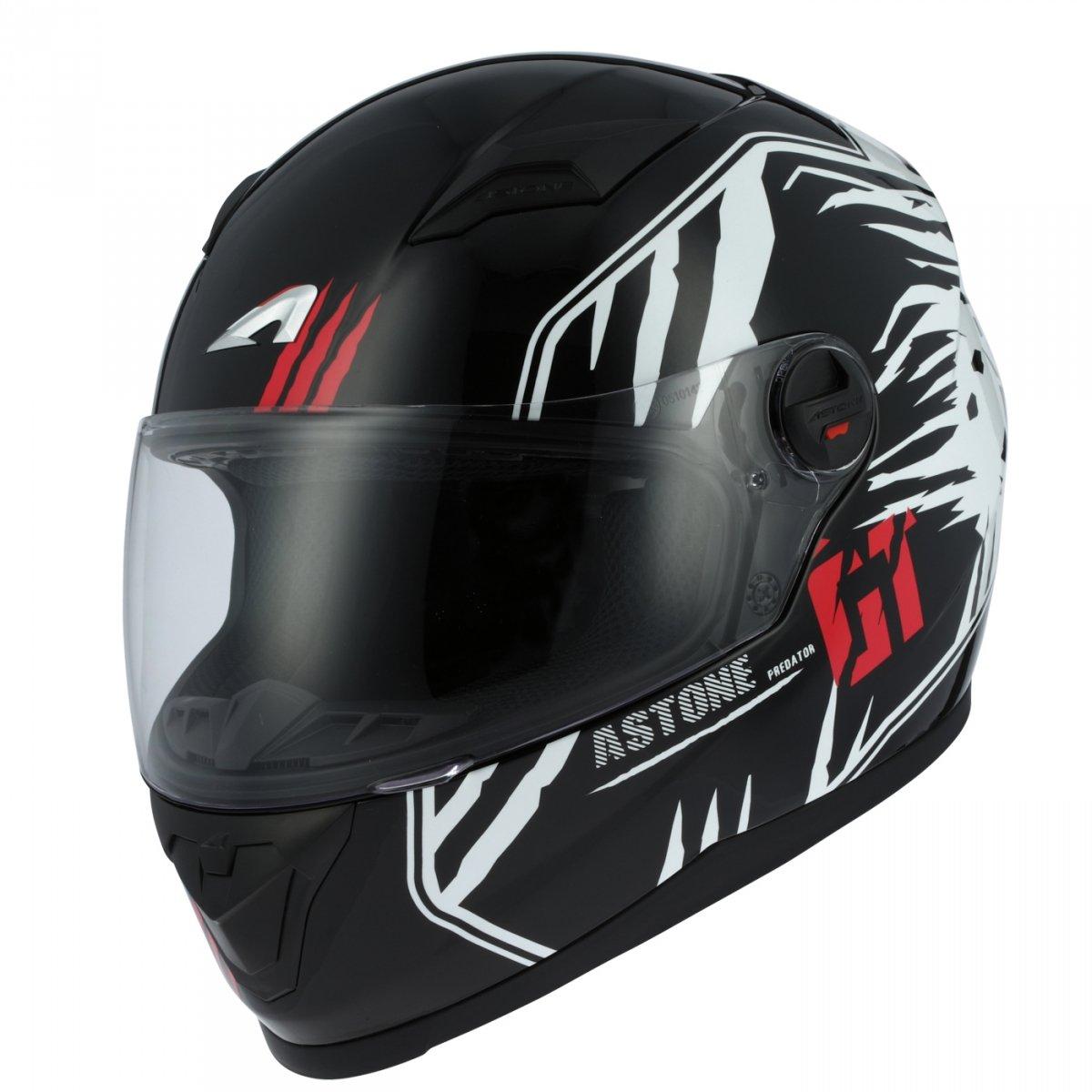 nero//bianco Astone Helmets gt2g-predator-bwxs Casco Moto Integrale GT taglia XS