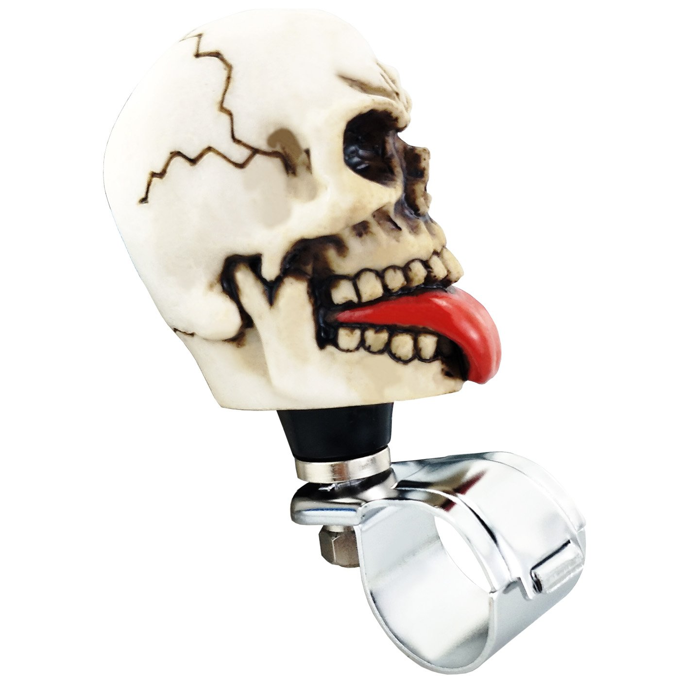 Lensuntom LUNSOM Universal Auto Fit Power Steering Wheel Spinner Handle Necking Knob for Cars Turn Knobs Easy Turns White Skull with Red Tongue
