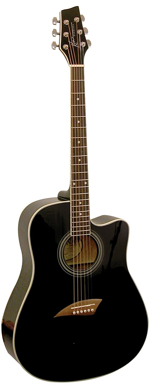 Kona Guitars K1BK Acoustic Dreadnought Cutaway Guitar in Black High Gloss Finish