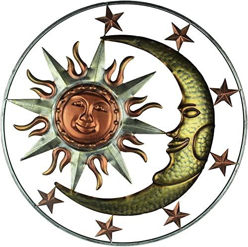 Direct International Metal Celestial Sun Moon and Stars Indoor/Outdoor 30 inch Wall Hanging Art Decor