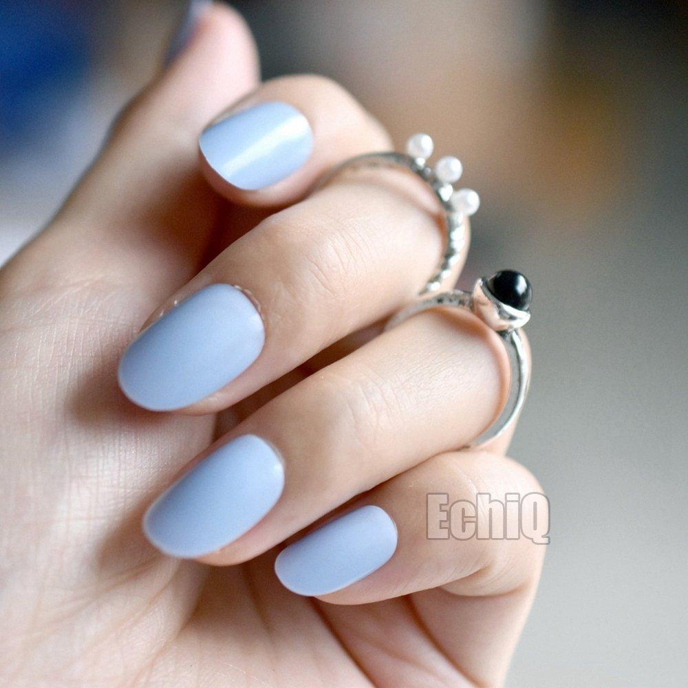 4fcf97bf492 Amazon.com : 24Pcs Oval Round Fake Nails Candy Baby Blue Acrylic ...