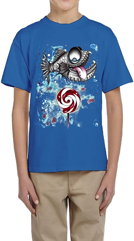 Fzjy Wnx Boy Short Sleeve T-Shirts Crew Piranha and Candy