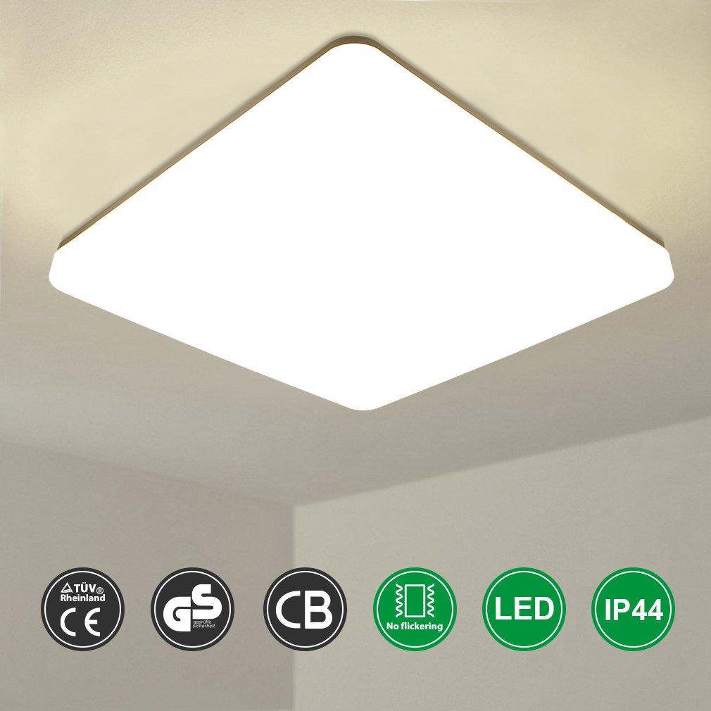 Oeegoo LED Deckenleuchte 18W IP44 Wasserfest Flimmerfrei Badlampe Badezimmerlampe 1550lm superhell led Deckenlampe fü r Badezimmer Wohnzimmer Flur Kü che Schlafzimmer Balkon Korridor Bü ro usw.